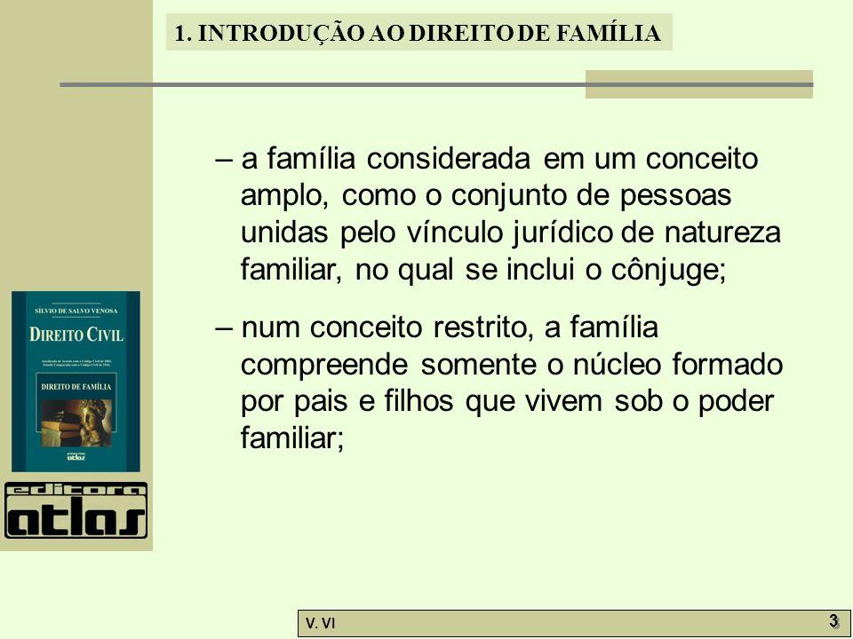 – a família considerada em um conceito amplo, como o conjunto de pessoas unidas pelo vínculo jurídico de natureza familiar, no qual se inclui o cônjuge;