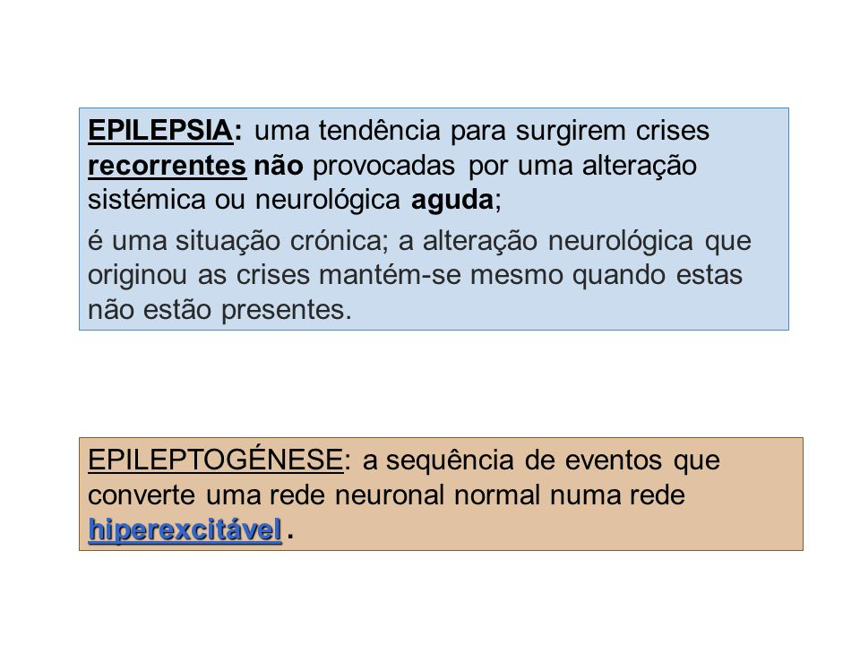 EPILEPSIA: uma tendência para surgirem crises recorrentes não provocadas por uma alteração sistémica ou neurológica aguda;