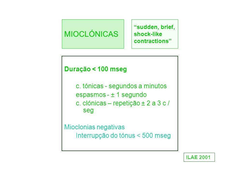 MIOCLÓNICAS Duração < 100 mseg c. tónicas - segundos a minutos