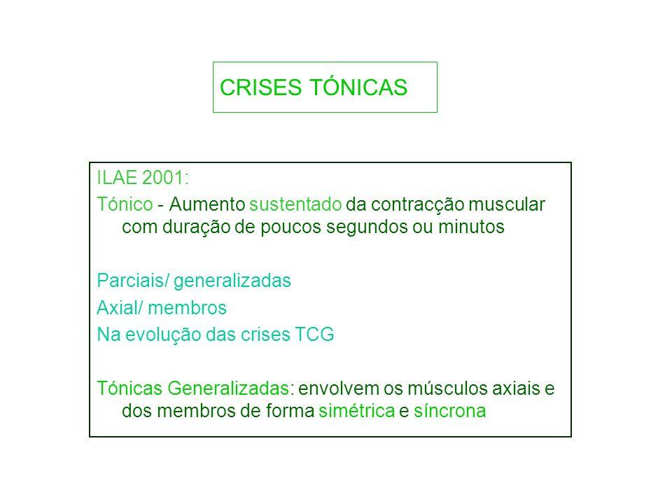 CRISES TÓNICAS ILAE 2001: Tónico - Aumento sustentado da contracção muscular com duração de poucos segundos ou minutos.