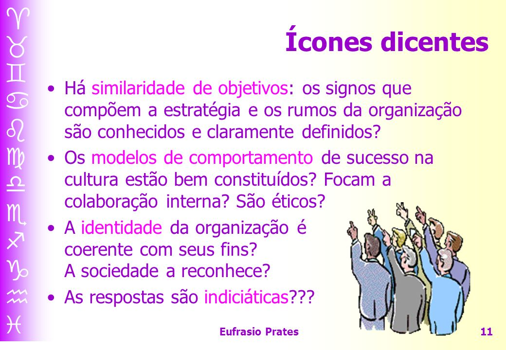 Ícones dicentes Há similaridade de objetivos: os signos que compõem a estratégia e os rumos da organização são conhecidos e claramente definidos
