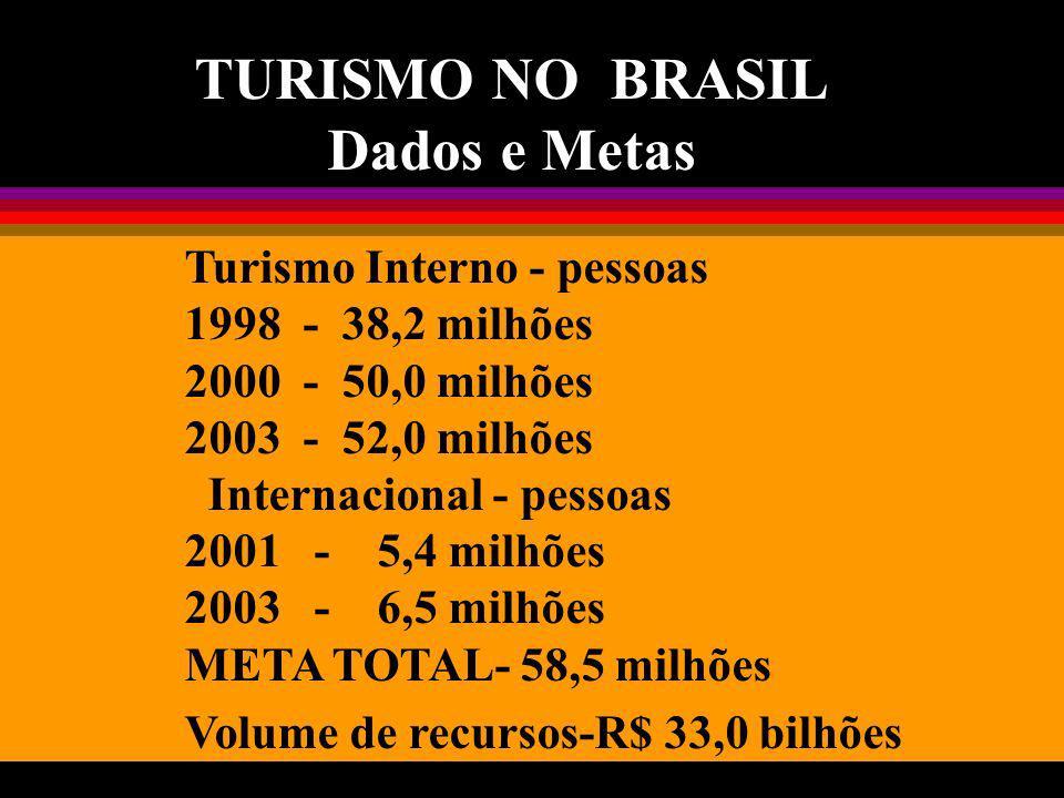 TURISMO NO BRASIL Dados e Metas Turismo Interno - pessoas