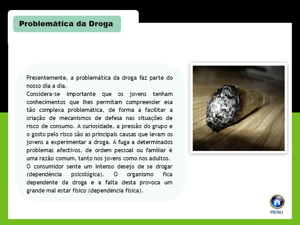 Problemática da Droga Presentemente, a problemática da droga faz parte do nosso dia a dia.