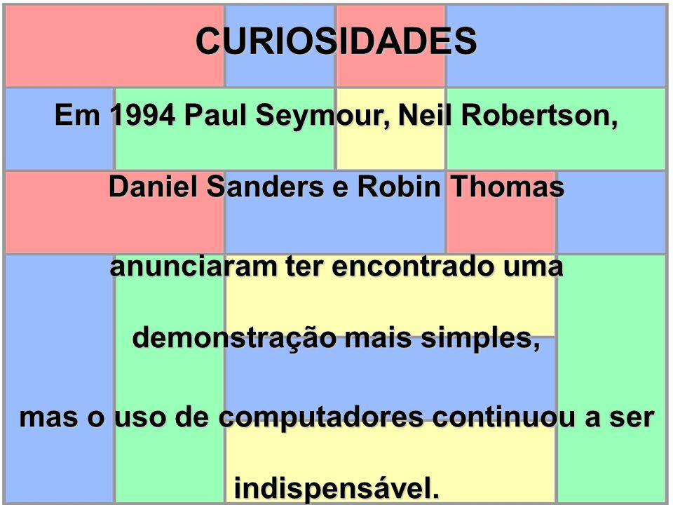 CURIOSIDADES Em 1994 Paul Seymour, Neil Robertson, Daniel Sanders e Robin Thomas. anunciaram ter encontrado uma demonstração mais simples,