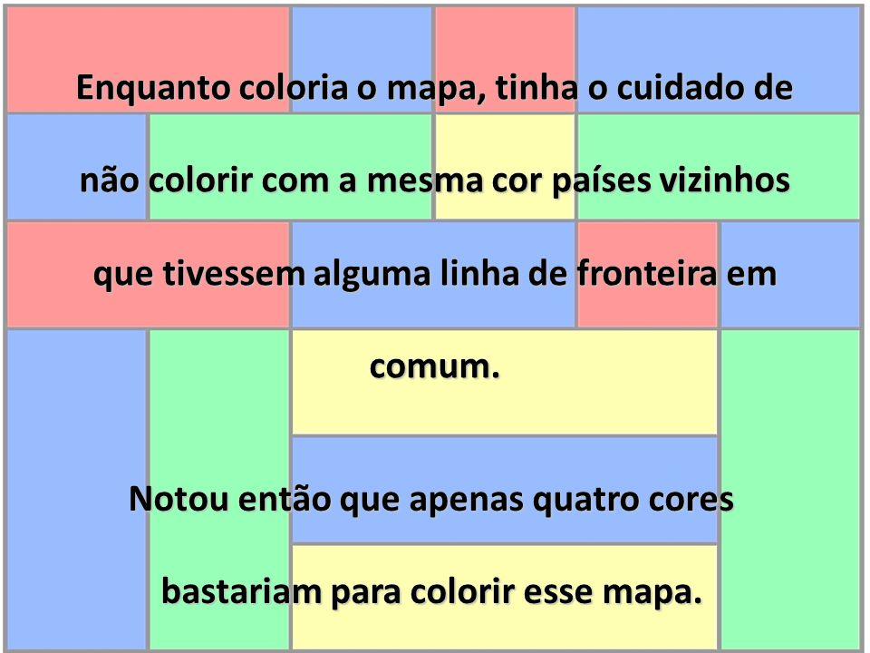 Notou então que apenas quatro cores bastariam para colorir esse mapa.