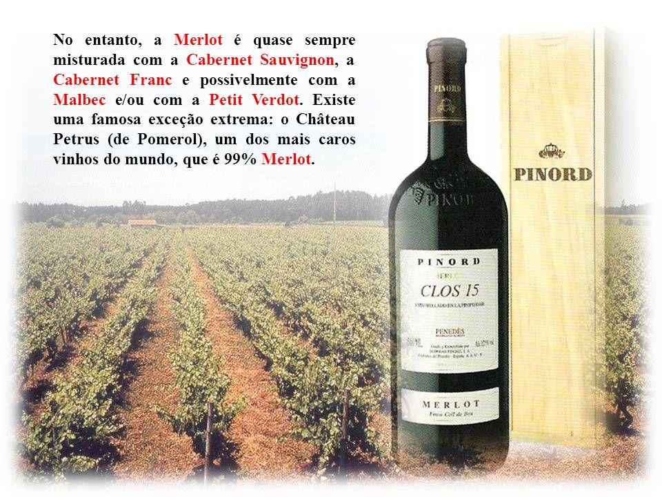 No entanto, a Merlot é quase sempre misturada com a Cabernet Sauvignon, a Cabernet Franc e possivelmente com a Malbec e/ou com a Petit Verdot. Existe uma famosa exceção extrema: o Château Petrus (de Pomerol), um dos mais caros vinhos do mundo, que é 99% Merlot.