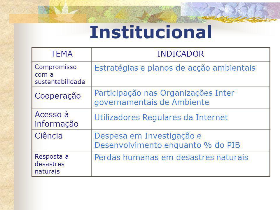 Institucional TEMA INDICADOR Estratégias e planos de acção ambientais