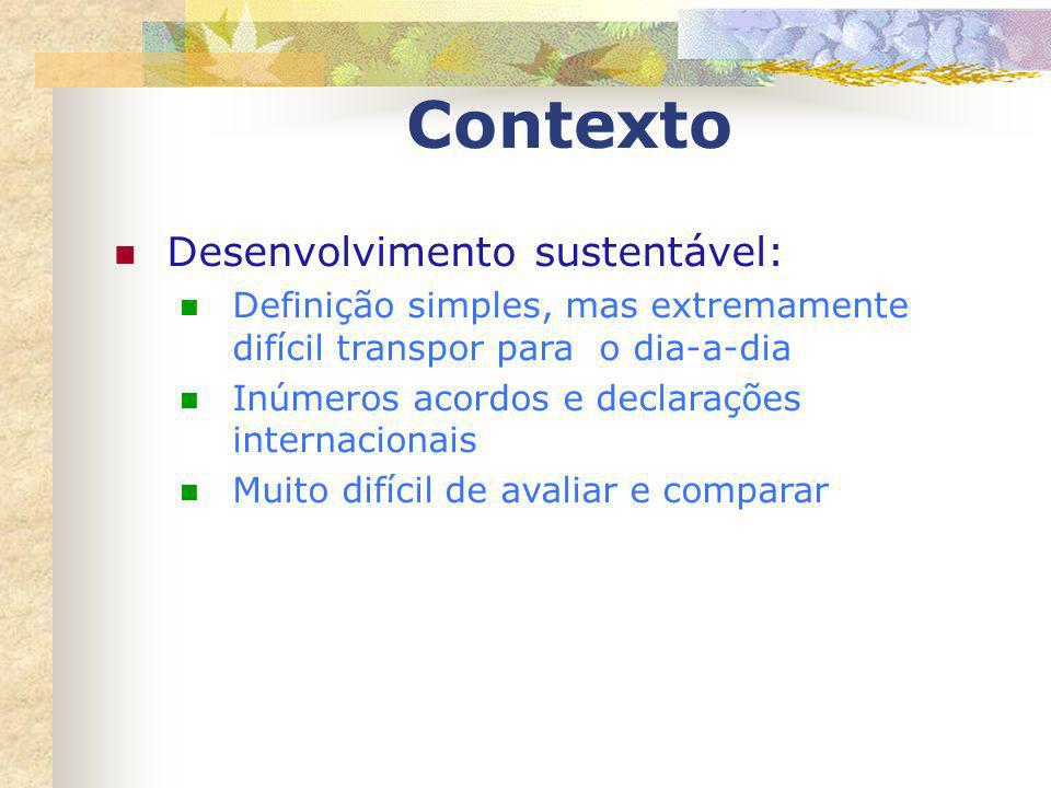 Contexto Desenvolvimento sustentável: