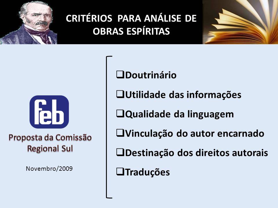 CRITÉRIOS PARA ANÁLISE DE OBRAS ESPÍRITAS