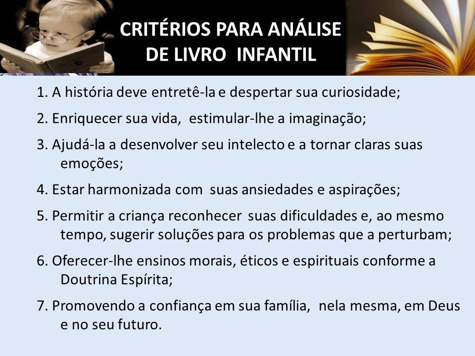 CRITÉRIOS PARA ANÁLISE DE LIVRO INFANTIL