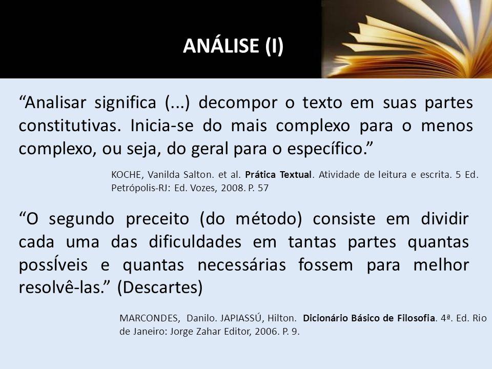 ANÁLISE (I)