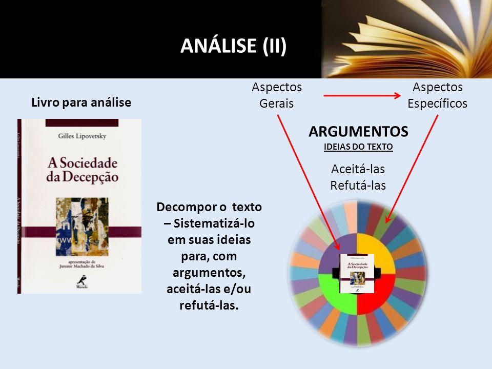 ANÁLISE (II) ARGUMENTOS Aspectos Gerais Aspectos Específicos