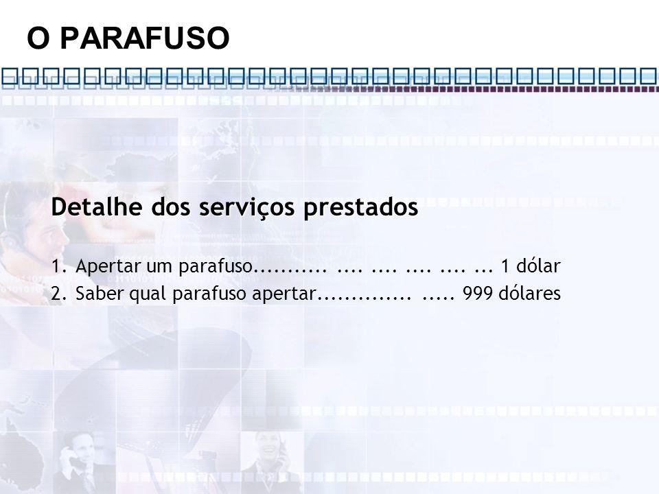 O PARAFUSO Detalhe dos serviços prestados