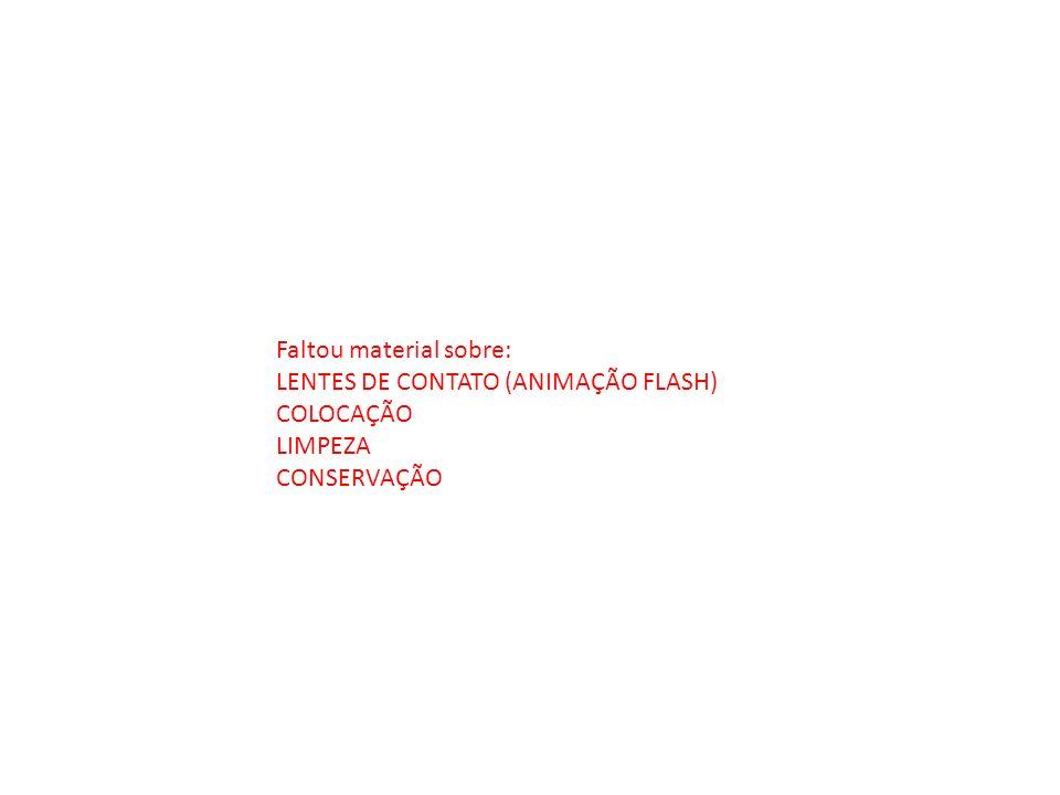 Faltou material sobre: LENTES DE CONTATO (ANIMAÇÃO FLASH) COLOCAÇÃO