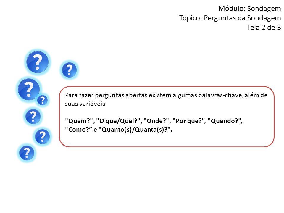 Módulo: Sondagem Tópico: Perguntas da Sondagem Tela 2 de 3