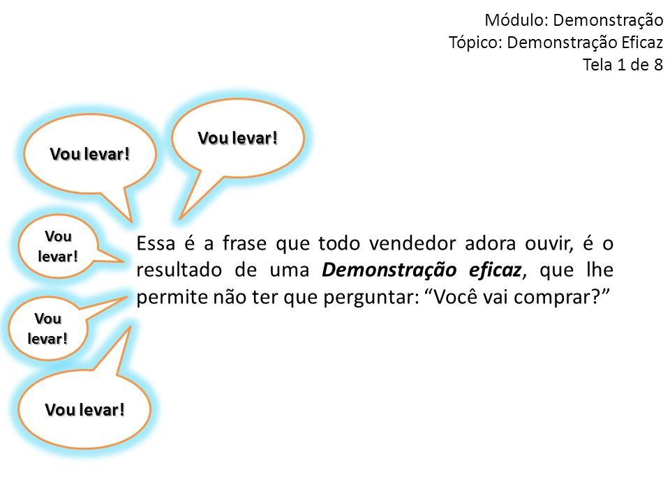 Módulo: Demonstração Tópico: Demonstração Eficaz Tela 1 de 8