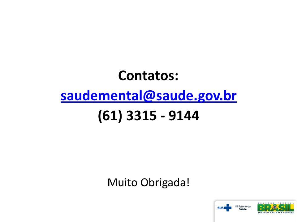Contatos: saudemental@saude.gov.br (61) 3315 - 9144
