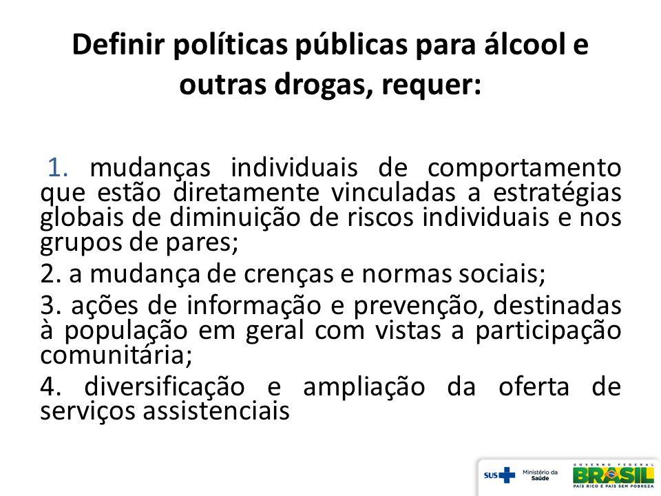 Definir políticas públicas para álcool e outras drogas, requer: