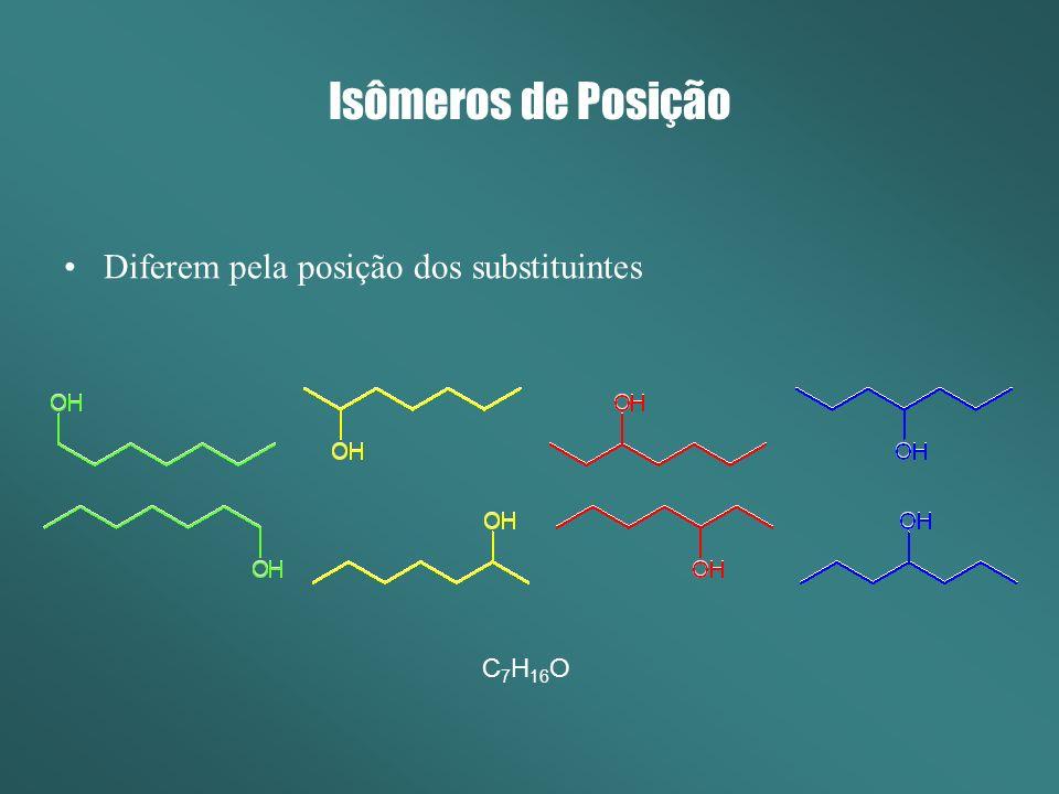 Isômeros de Posição Diferem pela posição dos substituintes C7H16O