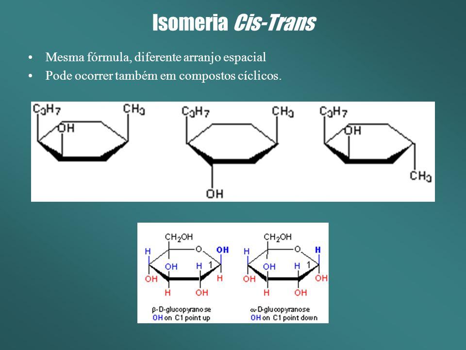 Isomeria Cis-Trans Mesma fórmula, diferente arranjo espacial