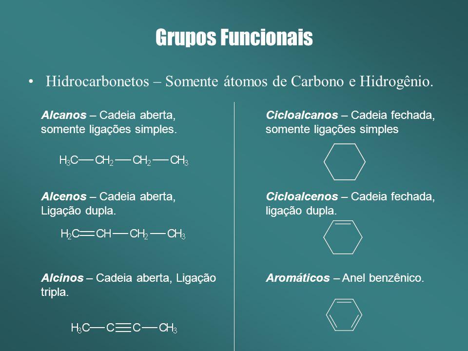 Grupos Funcionais Hidrocarbonetos – Somente átomos de Carbono e Hidrogênio. Alcanos – Cadeia aberta, somente ligações simples.