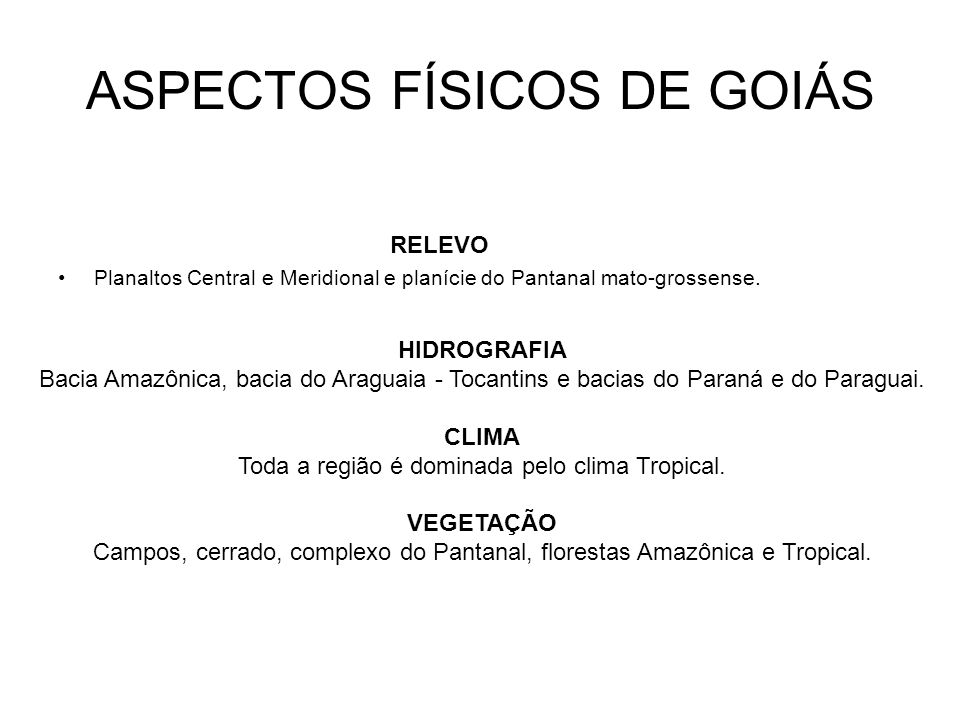 ASPECTOS FÍSICOS DE GOIÁS