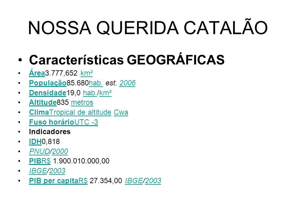 NOSSA QUERIDA CATALÃO Características GEOGRÁFICAS Área3.777,652 km²