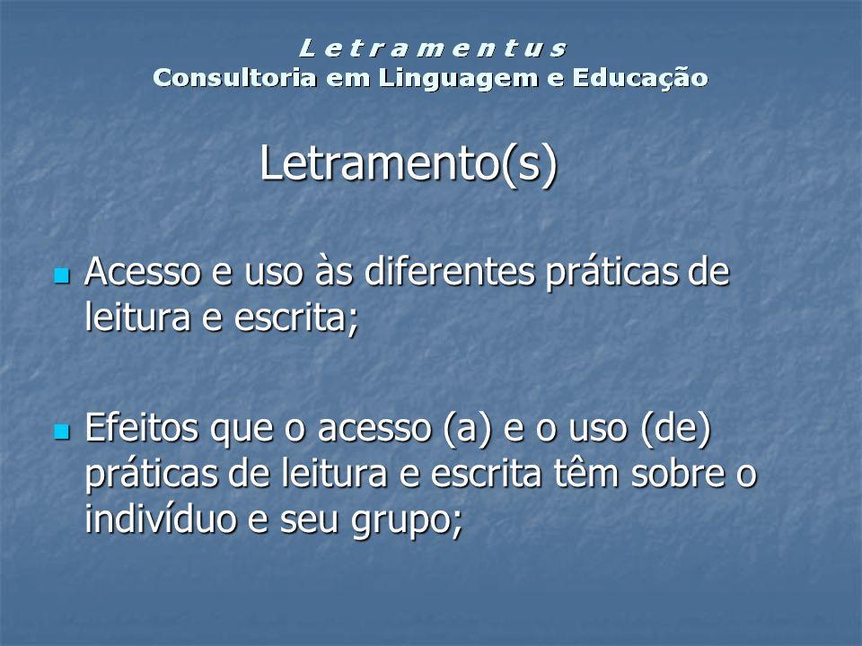 Letramento(s) Acesso e uso às diferentes práticas de leitura e escrita;