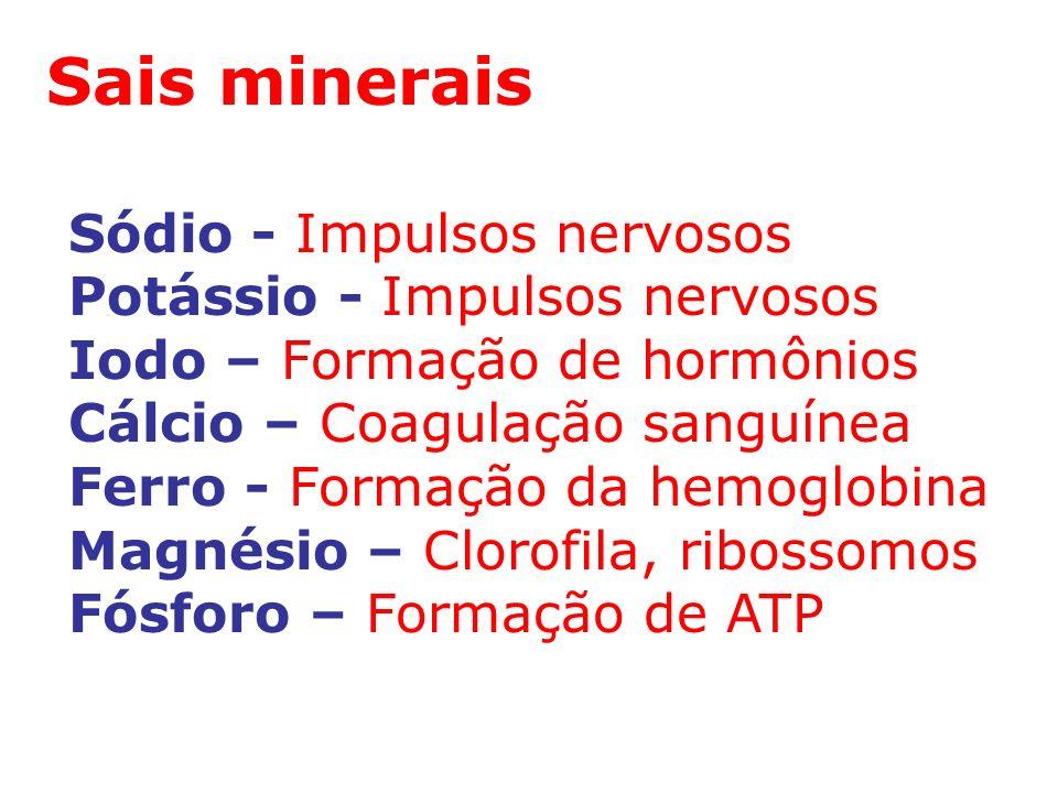 Sais minerais Sódio - Impulsos nervosos Potássio - Impulsos nervosos