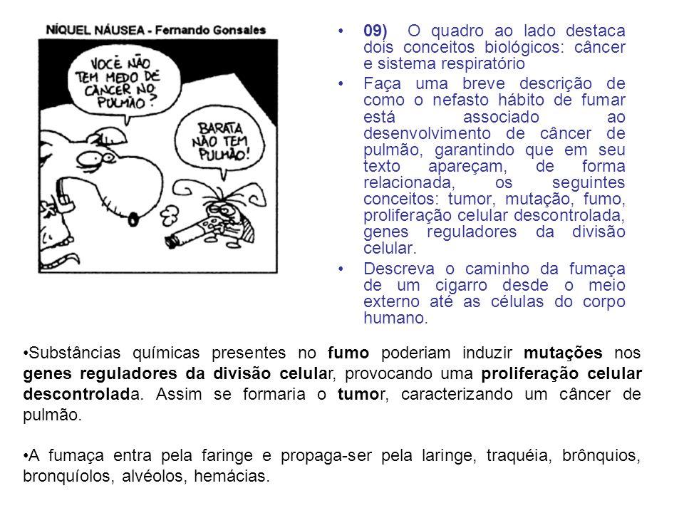 09) O quadro ao lado destaca dois conceitos biológicos: câncer e sistema respiratório