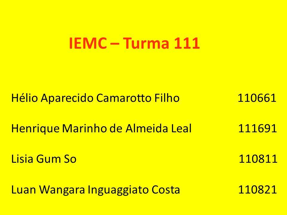 IEMC – Turma 111 Hélio Aparecido Camarotto Filho 110661
