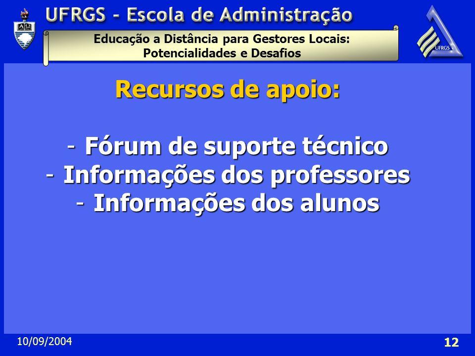Fórum de suporte técnico Informações dos professores