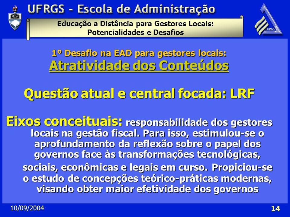 Atratividade dos Conteúdos Questão atual e central focada: LRF