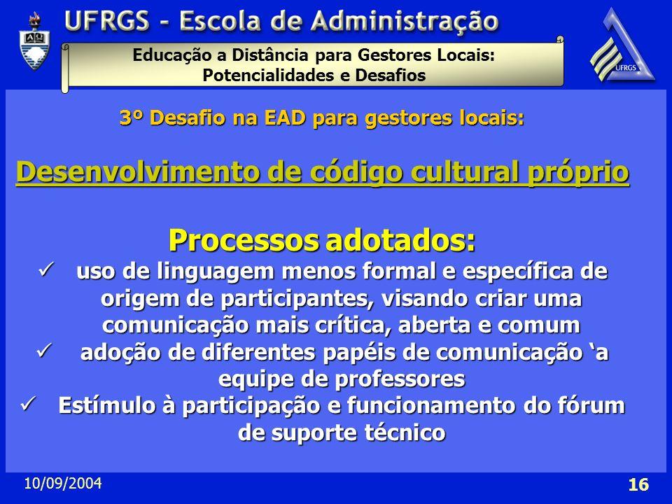 Processos adotados: Desenvolvimento de código cultural próprio