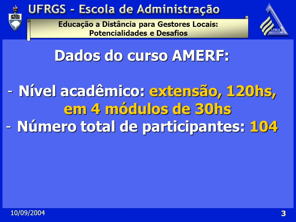 Nível acadêmico: extensão, 120hs, em 4 módulos de 30hs