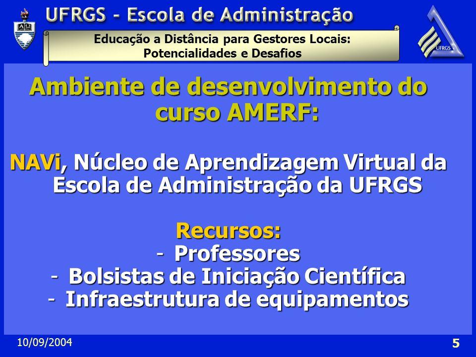 Ambiente de desenvolvimento do curso AMERF: