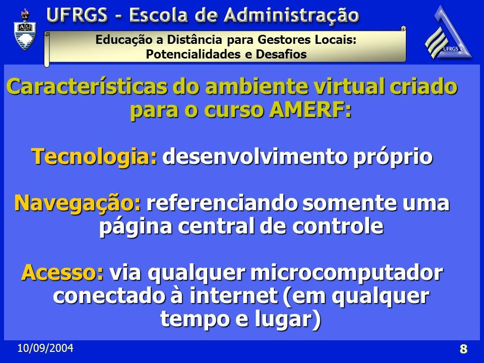 Características do ambiente virtual criado para o curso AMERF: