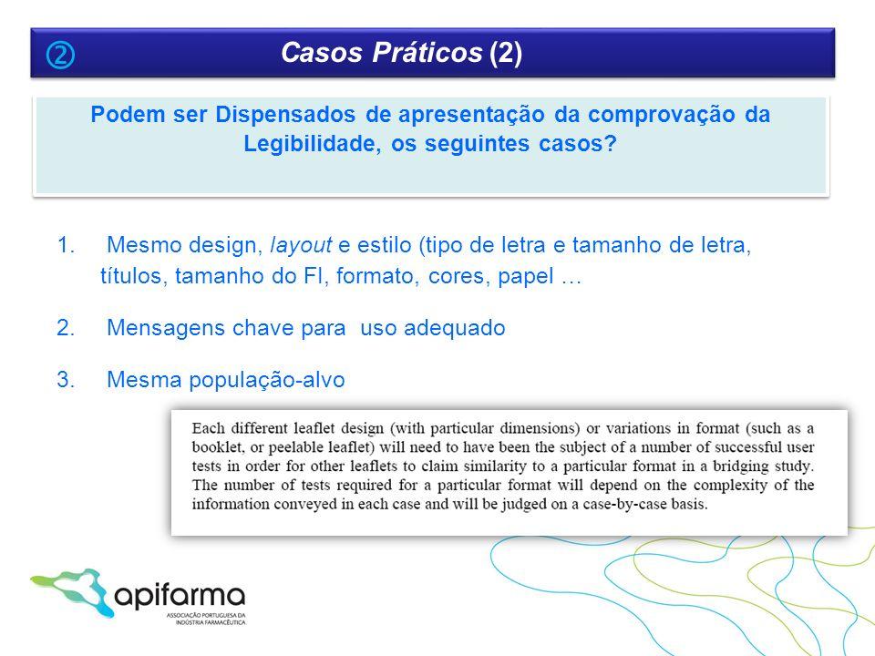 Casos Práticos (2)  Podem ser Dispensados de apresentação da comprovação da Legibilidade, os seguintes casos