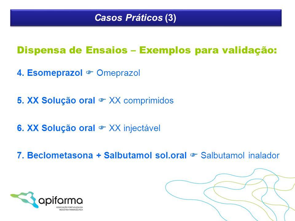 Dispensa de Ensaios – Exemplos para validação: