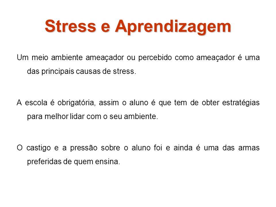 Stress e Aprendizagem Um meio ambiente ameaçador ou percebido como ameaçador é uma das principais causas de stress.