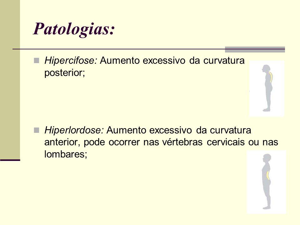Patologias: Hipercifose: Aumento excessivo da curvatura posterior;
