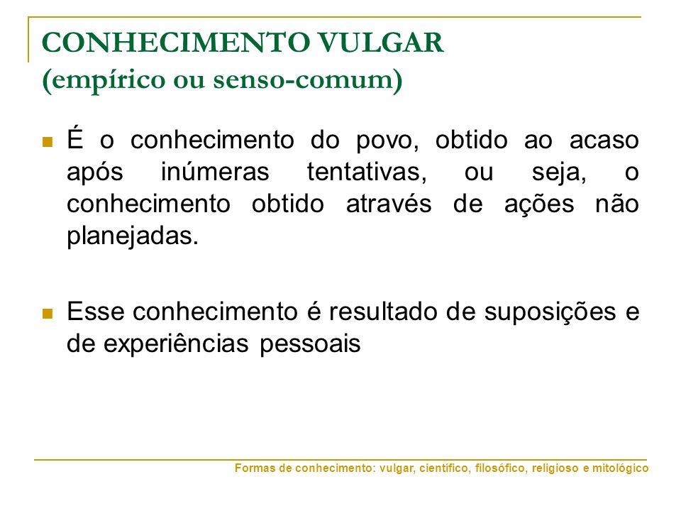 CONHECIMENTO VULGAR (empírico ou senso-comum)