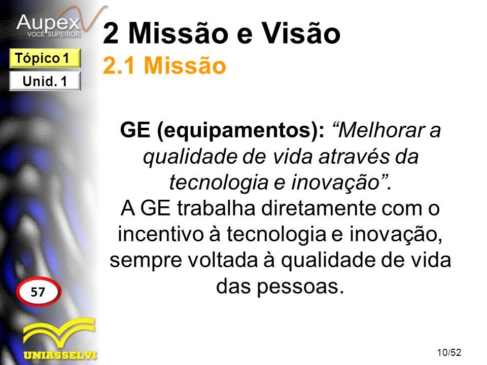 2 Missão e Visão 2.1 Missão Tópico 1. Unid. 1. GE (equipamentos): Melhorar a qualidade de vida através da tecnologia e inovação .
