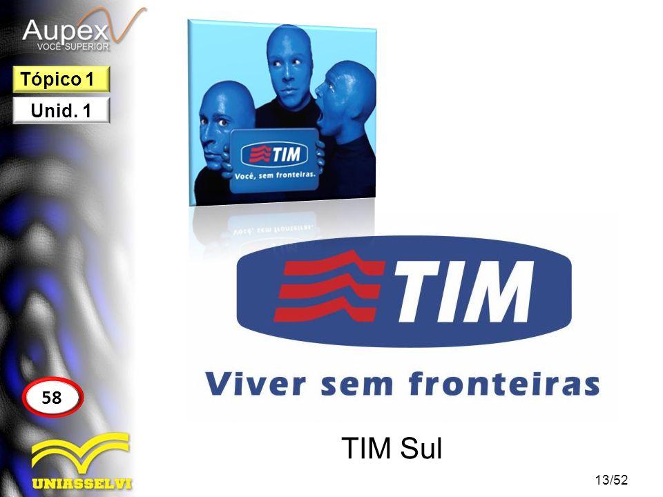 Tópico 1 Unid. 1 58 TIM Sul 13/52