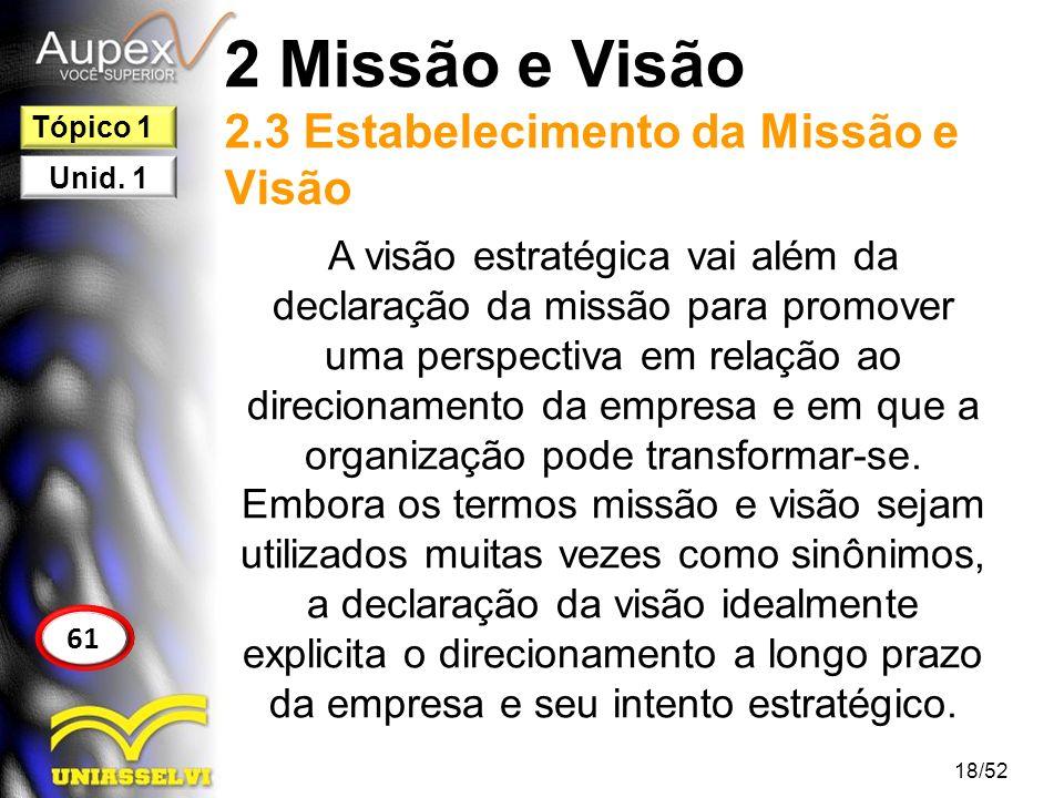 2 Missão e Visão 2.3 Estabelecimento da Missão e Visão