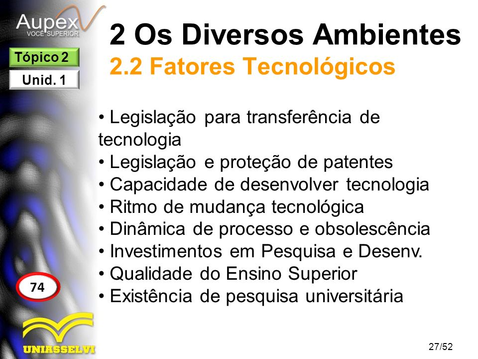 2 Os Diversos Ambientes 2.2 Fatores Tecnológicos