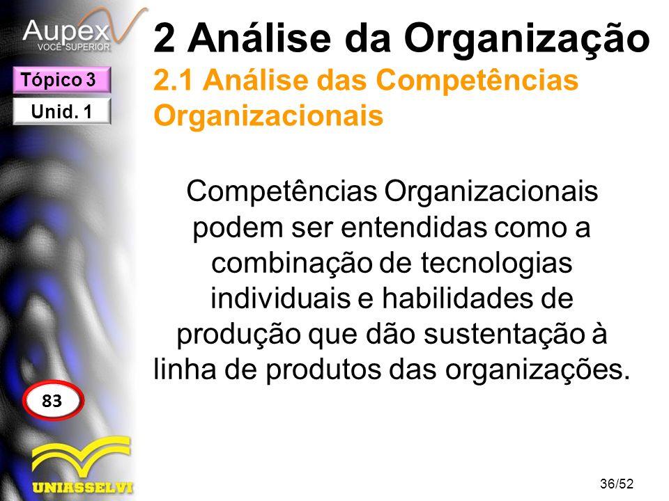 2 Análise da Organização 2.1 Análise das Competências Organizacionais