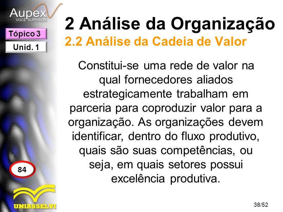 2 Análise da Organização 2.2 Análise da Cadeia de Valor