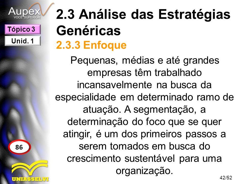 2.3 Análise das Estratégias Genéricas 2.3.3 Enfoque