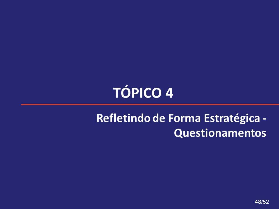 TÓPICO 4 Refletindo de Forma Estratégica - Questionamentos 48/52